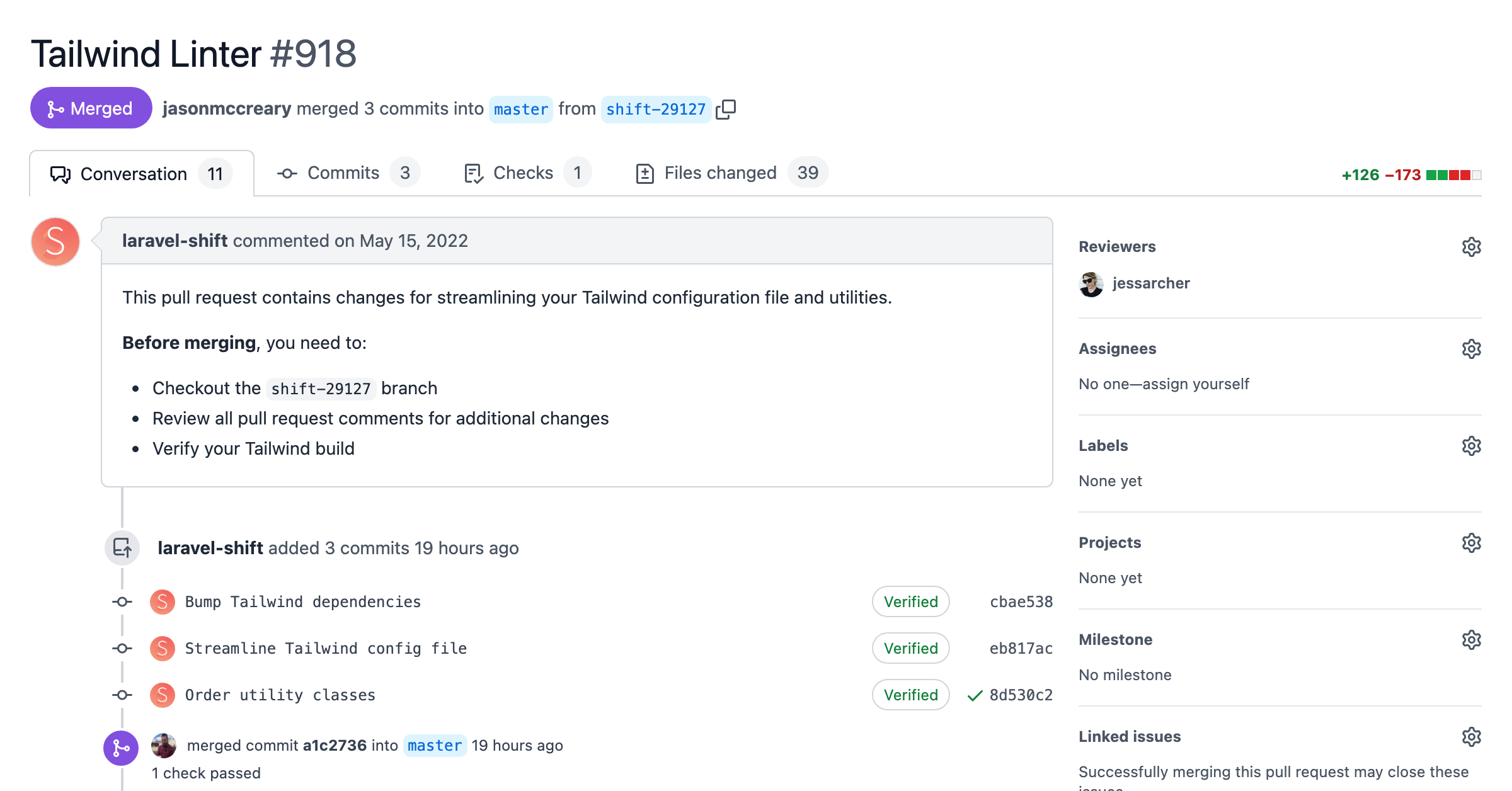 Screenshot of a pull request with atomic commits for each change of the Tailwind Linter