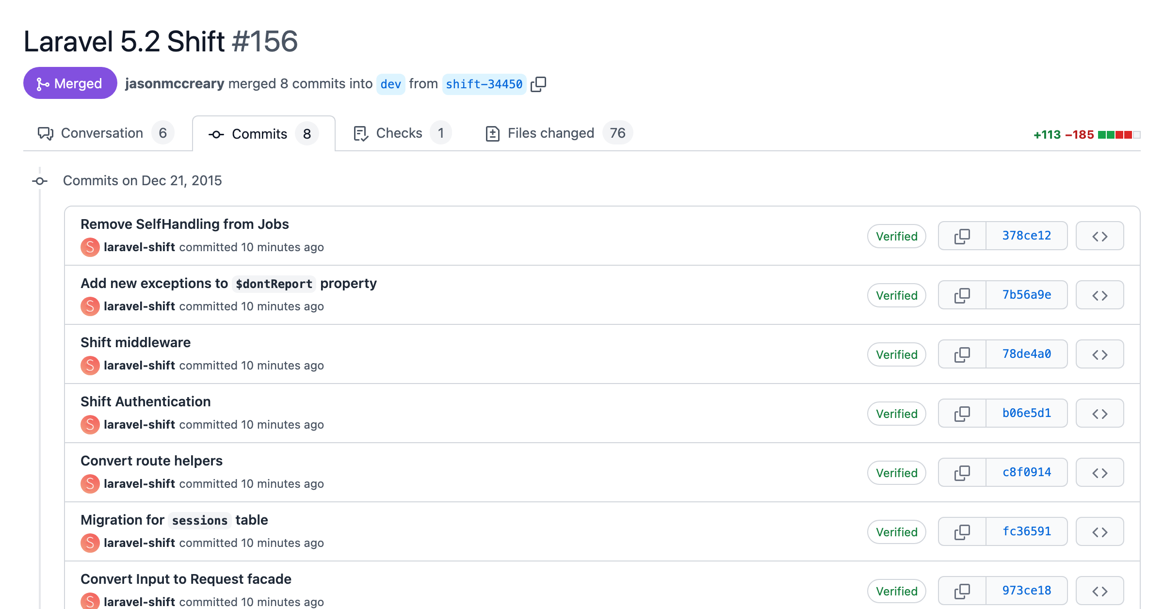 Screenshot of a pull request with atomic commits for each change of the Laravel 5.2 Shift